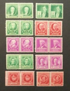 USA 1940 Famous People Series (MNH/MH) Pairs