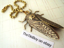 Cicada Ceiling Fan Pull Chain Antiqued Brass Metal Ball Chain Light Pull New