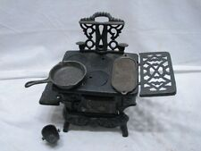 Antique Crescent Cast Iron Toy Cook Stove Doll House w/Acc Salesman Sample