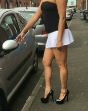 White Micro Mini Skirt Women's Short High Waist Strechy Ladies Short Circular