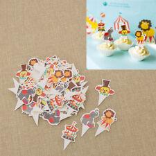 100pcs Assorted Animal Circus Cupcake Toppers Kids Party Christmas Decor Random
