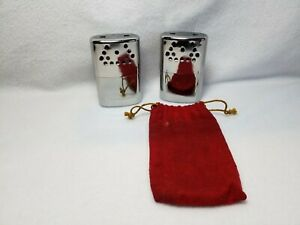 Lot of 2 ~ Vintage JON-E Hand Warmers ~ Large Chrome ~ with 1 Pouch