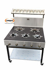 5 Burners Commercial Natural Gas Cooker Solid Pop Plate