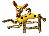 TRUE VINTAGE Enamel Rhinestone Jumping Deer Fawn Retro Costume Jewelry Pin JVJ04