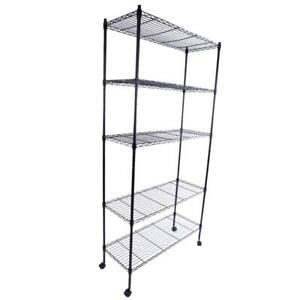 "Durable 65"" 5 Tier Shelf Wire Metal Shelving Rack w/Rolling Home-saving"