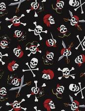 Fabric 100% Cotton Timeless Pirate Skulls C4826
