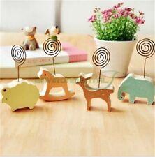 Lot of 4 Animal Metal Wood Tabel Home Restaurant Message Card Holder Decor Clip