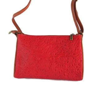 Ladies Trasea Italian Leather Handbag - Red