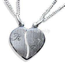 Partner Anhänger Herz mit 2 Ketten und 2 x Gravur Silber 925       a482