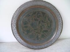 Antique large PERSIAN handmade hammer copper on tin tray etch birds & flowers 58