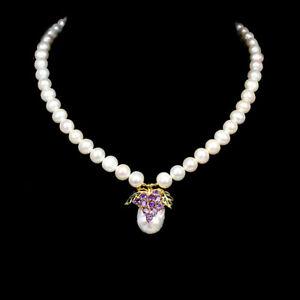 Unheated Round Purple Amethyst 3.5mm Pearl 925 Sterling Silver Bracelet 19 Ins