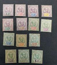 SARAWAK 1888 1c to $1 SG 8 - 21 Sc 8 - 21 set 14 MH with toned gum