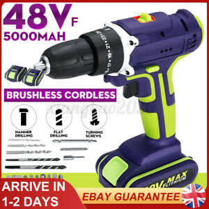 48V Electric Cordless Hammer Impact Power Drill Screwdriver + 2Batteries+Charger