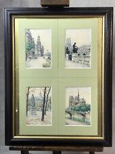 """TABLEAU DE 4 AQUARELLES DU VIEUX PARIS PAR """" G . LEDUC """" de 1945 BIEN ENCADRÉ"""