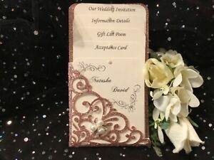 WEDDING INVITATION ROSE GOLD GLITTER & IVORY  VINTAGE POCKET 4 CARD  LASER CUT