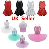 UK Girls Ballet Dance Dress Sequins Tutu Skirt Kid Modern Jazz Costume Dancewear