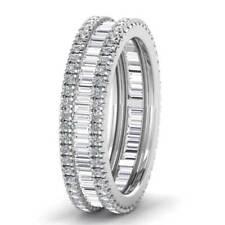 1.20ct Round & Baguette Cut Diamond Full Eternity Wedding Ring in 18K White Gold