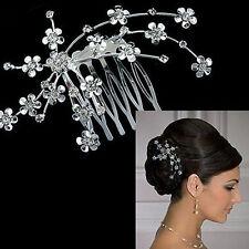 Lady Silver Gem Crystal Wedding Bridal Jewelry Crown Hair Jewelry Clip Hair Pins