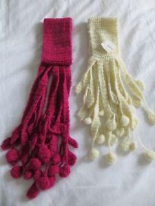 Girls 2 Next Cream Pink Knitted Dangle Bobble Tassel  Detail Scarfs Age 7-13 yrs