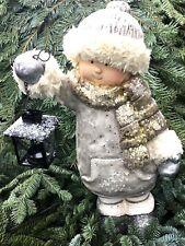 Winterkind Laterne 47cm Figur Gartenfigur Weihnachtsdeko Winterdeko Herbst Deko