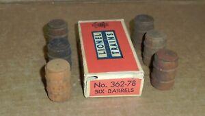 """* """"Lionel Post War O Trains .. """"Lot of (6) Wooden Barrels""""  w/ Box #362-78"""