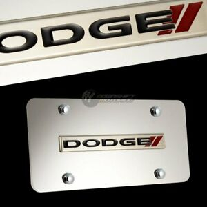DODGE Stripes 3D Logo Front Mirror Stainless Steel License Plate Frame with Caps
