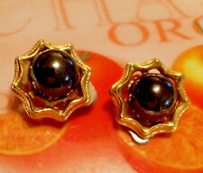 Boucle Oreilles VINTAGE BIJOU ANCIEN   Earring Pierre Hématite Bijouterie