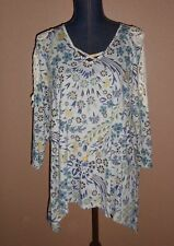 Style & Co.Yellow Green Floral Lace Trim Sharkbite Hem Tunic Top Size L NWT