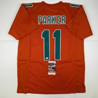 Autographed/Signed DEVANTE PARKER Miami Orange Football Jersey JSA COA Auto