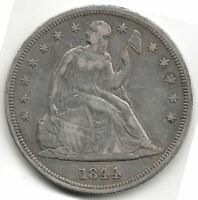 U.S.A. 1 Dolar Libertad sentada 1844  @ Bella pieza @ plata