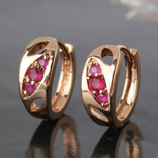 HUCHE Yellow Gold Filled Hollow Oval Pink Crystal Lady Hoop Earrings Ear Jewelry