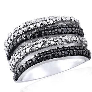 14K White Gold Over Silver 1/2 Carat Black & White Diamond Wave Band Ring