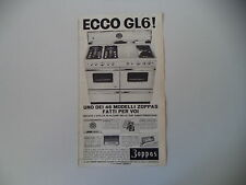 advertising Pubblicità 1962 CUCINA ZOPPAS GL6