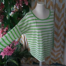 Kiara Knit Top Striped White green ladies XL long sleeve Lightweight top