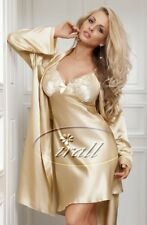 IRALL PARISA DRESSING GOWN BEIGE house coat robe Gold satin 10 12