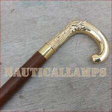 Carved Brass Designer Vintage Walking Canes Stick Victorian Style Handle Cane