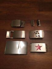 Five Belt Buckles One Solid Brass Three Slider Type