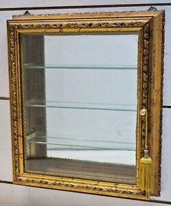 Creazioni Mongelli Artistiche Italy Gilt Table Curio Gold Wood Display Cabinet