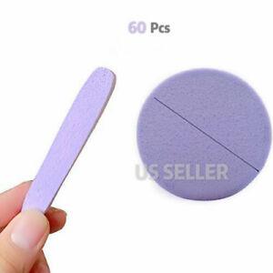 60 pcs PVA Compressed Facial Sponge Makeup Removal Wash Face Sponge Pads Purple