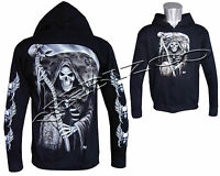 The Grim Reaper Glow In The Dark Skull Axe  Zip Zipped Hoodie Hoody Jacket M-XXL