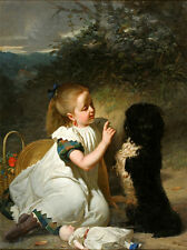 Huge art Oil painting nice young girl with her pet black dog and doll in view