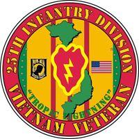 "25th Infantry Division Vietnam Veteran 5.5"" Window Sticker 'Officially Licensed'"