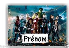 Plaque de porte en ( sur ) bois Avengers avec prénom   N° 120
