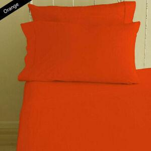 "Orange Solid Round Bedsheet Set 15"" Deep Pocket All US Diameter Mattress"