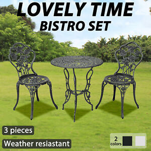 vidaXL 3 Piece Bistro Set Cast Aluminium Outdoor Dining Furniture Green/White