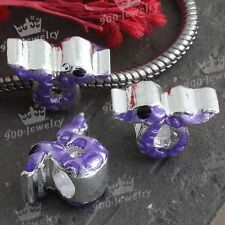 Purple Enamel Snake Animal European Bead Silver Plated Charms For Bracelet-NJ