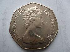 1983 50 Pence 50p UK coin large Fifty Pence Coin Copper nickel Ten Bob 7 Sided