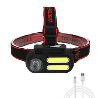 20000LM 2*COB+XPE LED Headlight USB Rechargeable 4 Modes Headlamp Torch 18650