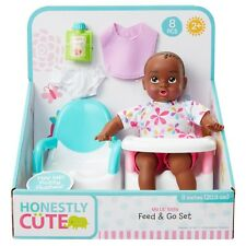 """Honestly Cute My Lil' 8"""" Baby Feed & Go Set African American Baby Doll New"""