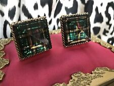 Betsey Johnson Vintage Green Plaid Lucite Block Pyramid Spike Gold Clip Earrings